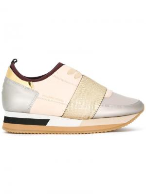 Кроссовки с панельным дизайном Philippe Model. Цвет: телесный