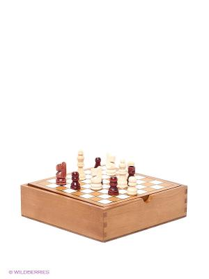 Шахматы мини Tactic Games. Цвет: коричневый, молочный