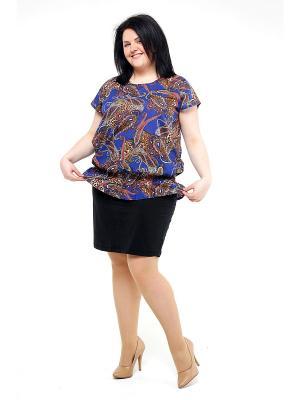 Блузка Pretty Woman. Цвет: синий, светло-коричневый