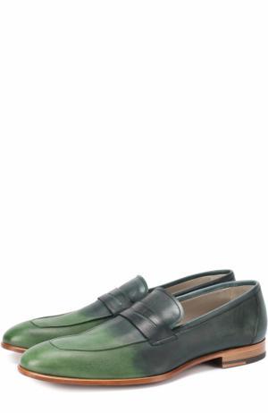 Кожаные пенни-лоферы с эффектом деграде Kiton. Цвет: зеленый