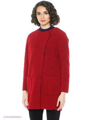 Пальто United Colors of Benetton. Цвет: темно-красный