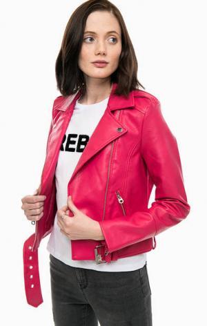 Куртка косуха цвета фуксии с карманами Vero Moda. Цвет: фуксия