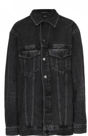 Джинсовая куртка свободного кроя с накладными карманами Denim X Alexander Wang. Цвет: серый