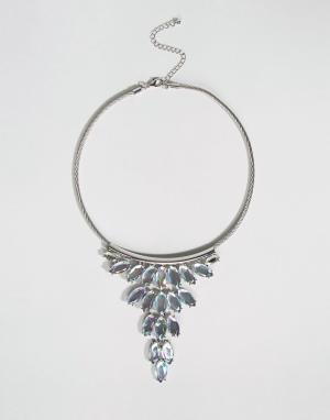 DesignB London Броское ожерелье-воротник с камнями. Цвет: серебряный