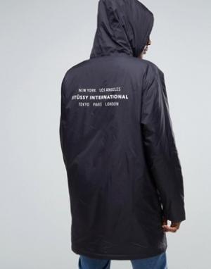 Stussy Спортивная куртка с капюшоном и принтом сзади. Цвет: черный