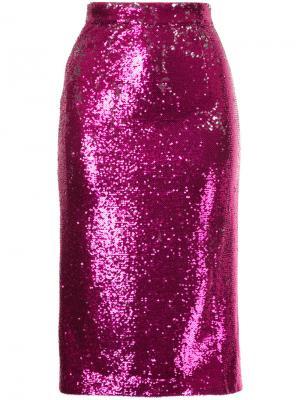 Расшитая пайетками юбка миди G.V.G.V.. Цвет: розовый и фиолетовый