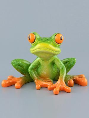 Фигурка  Лягушка в думках Elan Gallery. Цвет: зеленый, оранжевый