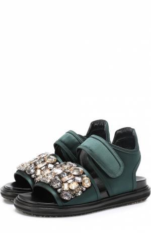 Текстильные сандалии Fussbett с кристаллами Marni. Цвет: зеленый