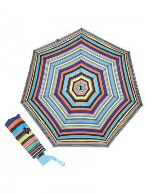 Зонт складной Eclair Blu Guy De Jean. Цвет: черный, голубой, желтый