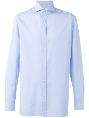Однотонная рубашка Borrelli. Цвет: синий