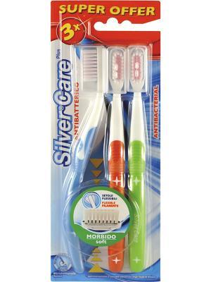 Набор зубных щёток Silver Care Plus мягк.. Цвет: зеленый, голубой, красный, белый