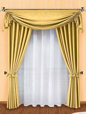 Комплект штор ZLATA KORUNKA. Цвет: золотистый, белый