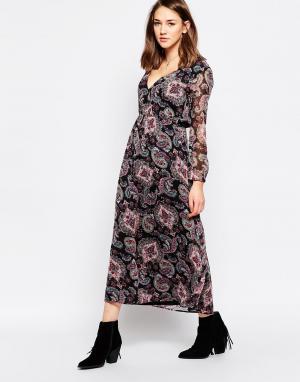 Diya Платье макси с принтом пейсли. Цвет: черный