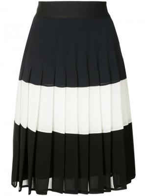Плиссированная юбка дизайна колор-блок Edward Achour Paris. Цвет: синий