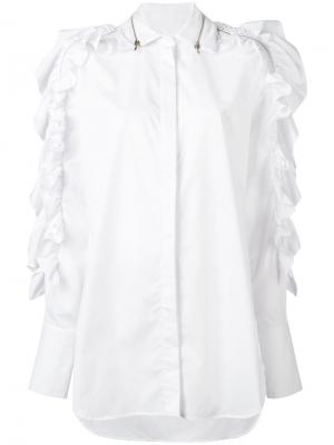 Свободная рубашка с оборками Preen By Thornton Bregazzi. Цвет: белый