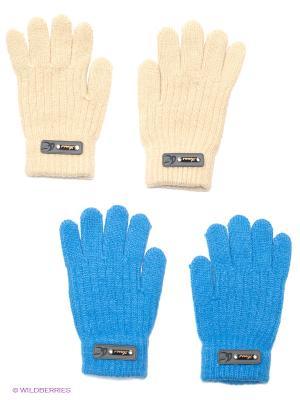 Перчатки, 2 пары FOMAS. Цвет: голубой, бежевый