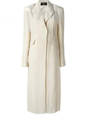 Длинное пальто с мятым эффектом Yang Li. Цвет: телесный