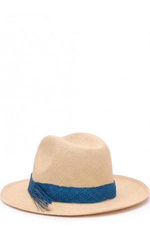 Соломенная шляпа с плетеной лентой Artesano. Цвет: кремовый