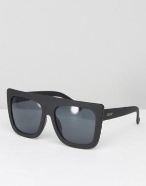 Quay Australia Солнцезащитные очки с плоским верхом Café Racer Shield. Цвет: черный