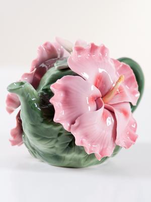 Заварочный чайник Гибискус Pavone. Цвет: зеленый, розовый
