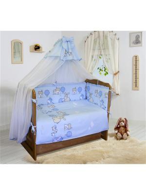 Комплект в кроватку,Веселая ферма Soni kids. Цвет: голубой