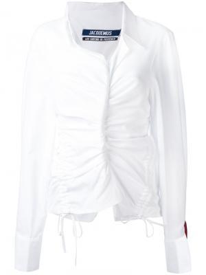 Присборенная рубашка с длинными рукавами Jacquemus. Цвет: белый