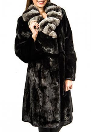 Пальто меховое с воротником шиншилла MALA MATI. Цвет: черный