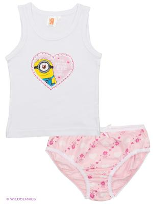 Комплект майка и трусы Миньоны Despicable Me, Minion Made. Цвет: белый, розовый