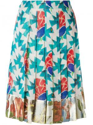 Плиссированная юбка с цветочным принтом Chanel Vintage. Цвет: многоцветный