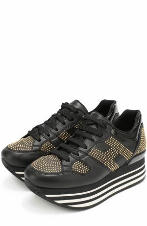 Кожаные кроссовки с заклепками Hogan. Цвет: черный