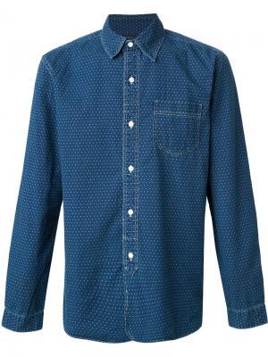 Джинсовая рубашка в горошек Rrl. Цвет: синий