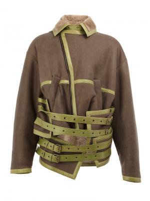 Кожаная куртка с ремешками Y / Project. Цвет: коричневый