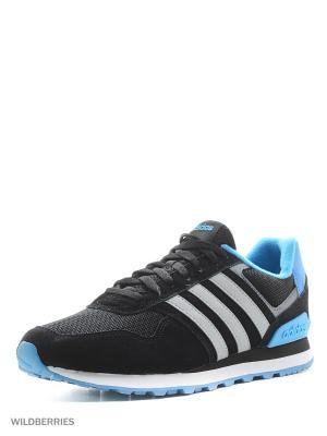 Кроссовки 10K Adidas. Цвет: черный, лазурный