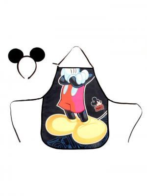 Фартук детский Микки Маус, + ободок с ушками Disney. Цвет: черный,светло-коралловый,светло-желтый