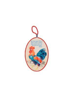 Подставка под горячее Петух на счастье Elan Gallery. Цвет: синий, бежевый, красный