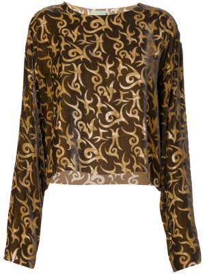 Блузка с принтом Aries. Цвет: коричневый
