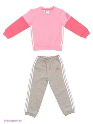 Костюм I SP CREW JOGG Adidas. Цвет: светло-серый, малиновый, розовый