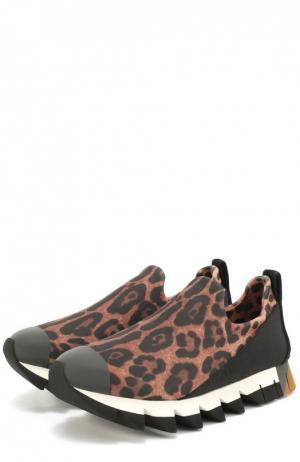 Комбинированные кроссовки Ibiza с принтом под леопарда Dolce & Gabbana. Цвет: леопардовый