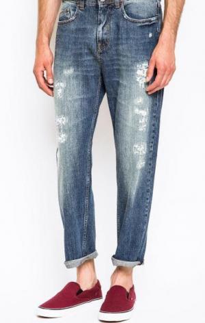Рваные синие джинсы ICEBERG. Цвет: синий