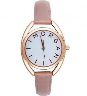 Часы из нержавеющей стали с розовым кожаным браслетом Morgan