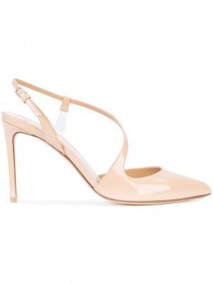 Туфли с асимметричным ремешком Francesco Russo. Цвет: телесный