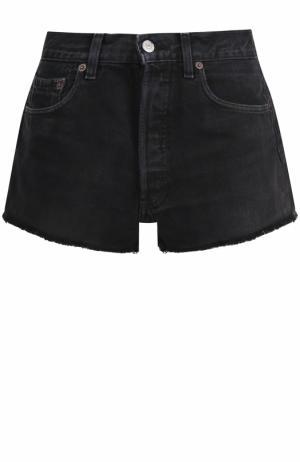 Джинсовые мини-шорты с потертостями Re/Done. Цвет: черный