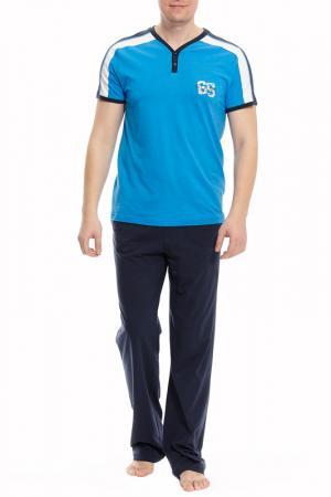 Пижама с брюками Relax Mode. Цвет: голубой