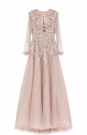 Платье-макси с кружевной отделкой и вышивкой Zuhair Murad. Цвет: светло-розовый