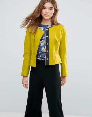 Closet London Жакет с карманами на молнии из ткани добавлением шерсти. Цвет: зеленый