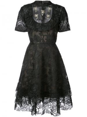 Кружевное расклешенное платье Marwar Sachin & Babi. Цвет: чёрный