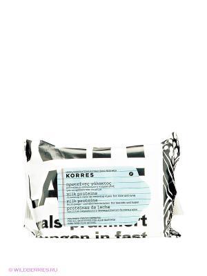 Салфетки для снятия макияжа с молочными протеинами Korres. Цвет: белый