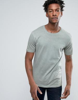 Troy Длинная футболка с асимметричным краем. Цвет: зеленый