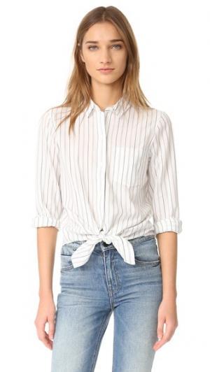 Завязанная спереди рубашка с длинными рукавами Madewell. Цвет: настоящий черный