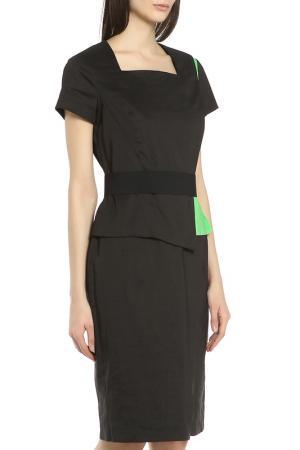 Изящное платье в деловом стиле Oblique. Цвет: черный-зеленый